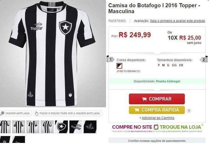 Botafogo possível nova camisa