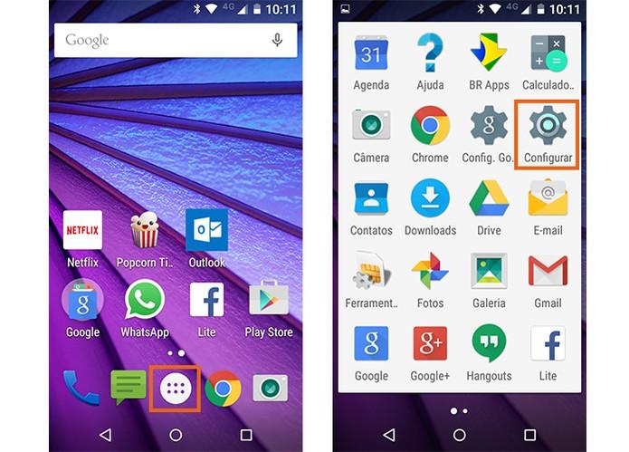 Acesse as configurações do Android no Moto G 3 (Foto: Reprodução/Barbara Mannara)