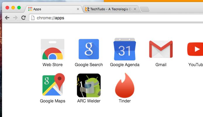 Aplicativo do Tinder permanece instalado no Chrome (Foto: Reprodução/Helito Bijora)