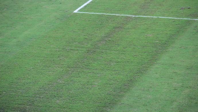 Falha no gramado da Arena Amazônia foi visível no jogo Camarões x Croácia (Foto: João Paulo Maia)