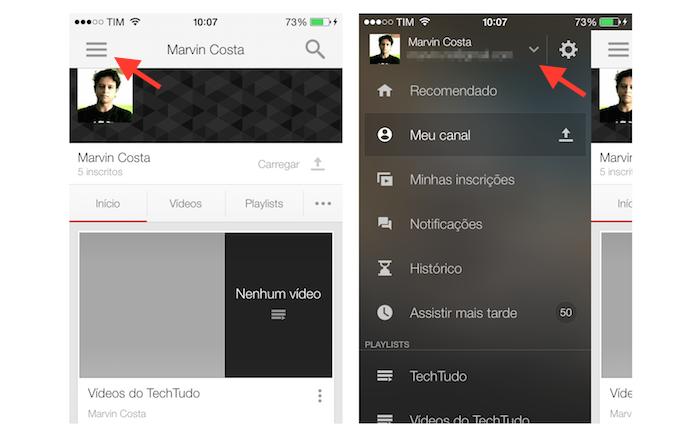 Acessando as configurações de uma conta do YouTube no iPhone (Foto: Reprodução/Marvin Costa)