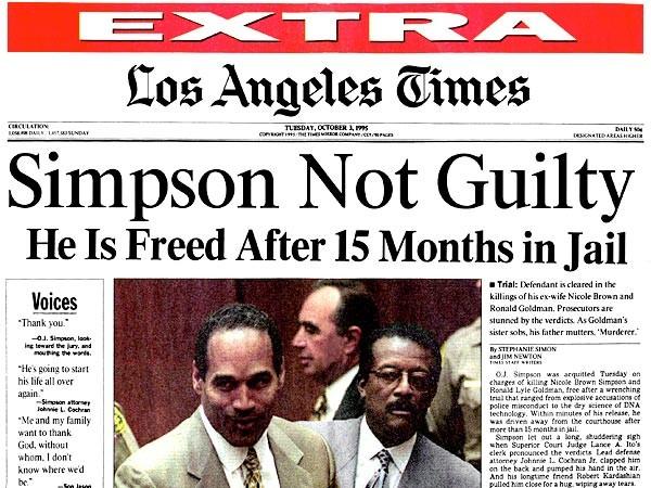 Edição do Los Angeles Times anunciando a absolvição de O.J. Simpson, em 1995. (Foto: reprodução)