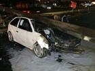 Motorista embriagado derruba poste na Linha Verde, em Curitiba