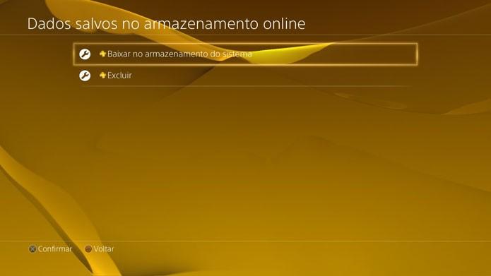 Baixar saves da nuvem do PS4 (Foto: Reprodução/Felipe Vinha)