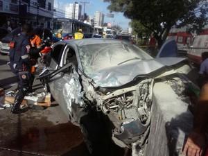 Acidente aconteceu na Avenida Abdias de Carvalho; um policial civil morreu (Foto: Junior Bezerra/WhatsApp)