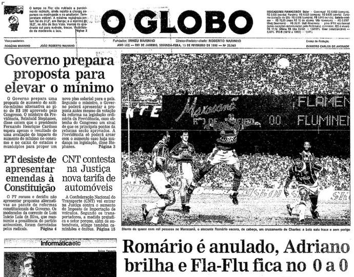 """Romário foi capa de """"O Globo"""", mas Lima foi o personagem do jogo (Foto: Reprodução/Acervo O Globo)"""