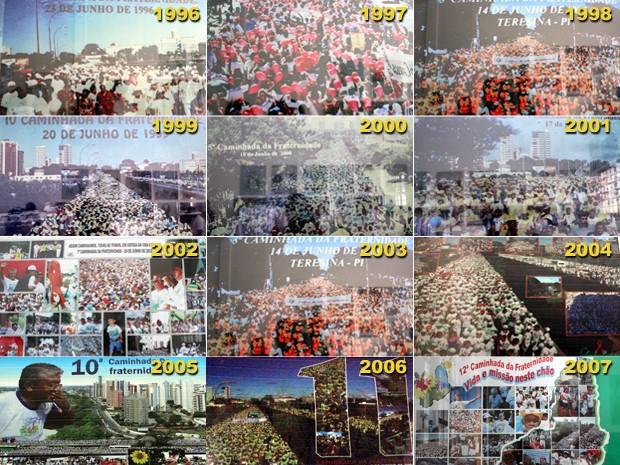 Mosaico das edições passadas da Caminhada da Fraternidade (Foto: Adelmo Paixão/G1)