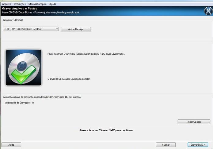 Gravação do DVD DL pelo Ashampoo: coloque a velocidade em 4x ou menos (Reprodução/Barbara Mannara)