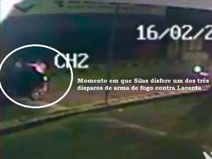 Imagem mostra momento em que Silas atira no cinegrafista José Lacerda (Foto: Divulgação/Polícia Ciivl do RN)
