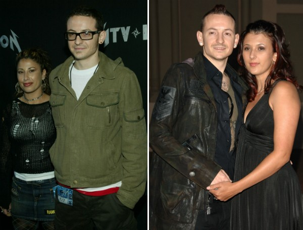 Chester Bennington com a primeira esposa, Samantha, e com a segunda, Talinda (Foto: Getty Images)