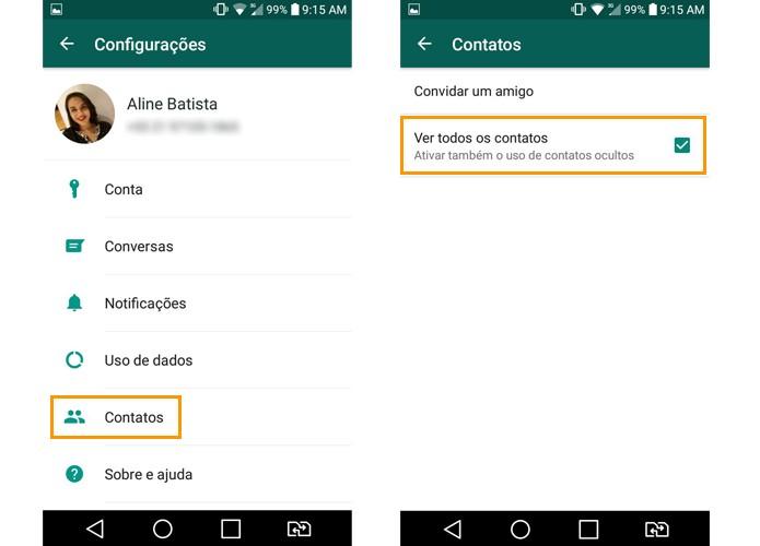 Marque para mostrar todos os contatos no WhatsApp (Foto: Reprodução/Aline Batista)