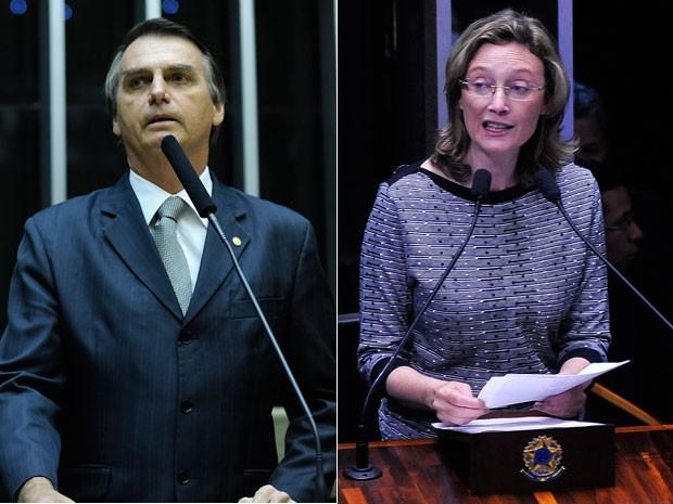 Os deputados Jair Bolsonaro e Maria do Rosário (Foto: Gabriela Korossy e Luis Macedo / Câmara dos Deputados)