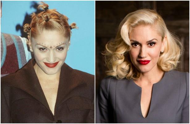 Acredite se quiser: é assim, como mostra a foto à direita, que Gwen Stefani chegou aos 45 anos de idade. Na foto da esquerda, feita em dezembro de 1997, a vocalista do No Doubt estava com 28 anos. (Foto: Getty Images)