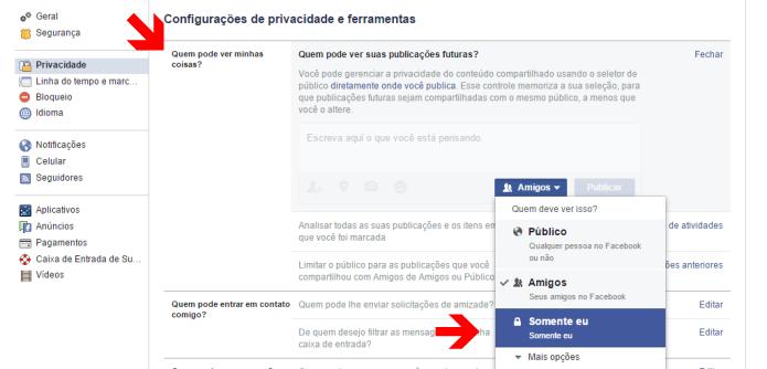 Configurando a privacidade dos futuros posts no Facebook (Foto: Reprodução/Lívia Dâmaso)