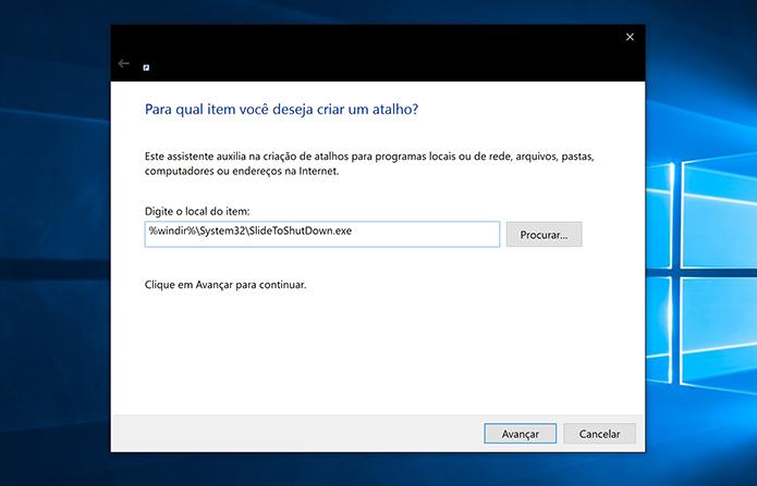 Digite endereço de atalho para ativar a função deslizar para desligar no Windows 10 (Foto: Reprodução/Elson de Souza)