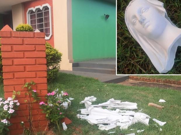 Imagem de Nossa Senhora das Graças foi encontrada destruída, em Itajá, Goiás (Foto: Dyego Queiroz/G1)