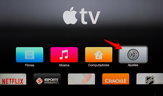 Acesse os ajustes da Apple TV. (Foto: Alessandro Junior/TechTudo) (Foto: Acesse os ajustes da Apple TV. (Foto: Alessandro Junior/TechTudo))