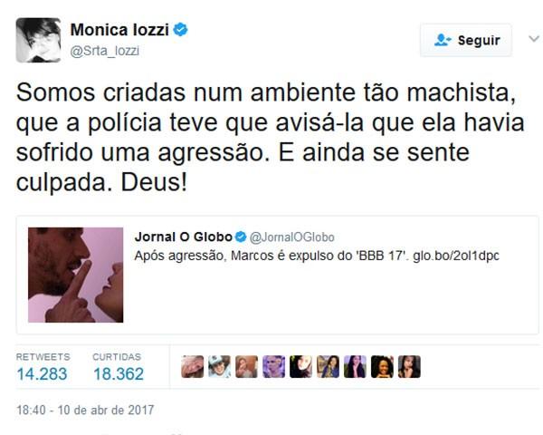 Monica Iozzi foi uma das famosas que se manifestou nas redes sociais (Foto: Reprodução/Twitter)