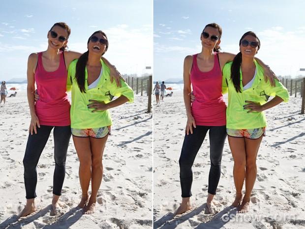 Giovanna e Julia posam para as fotos do Gshow (Foto: Inácio Moraes/ TV Globo)