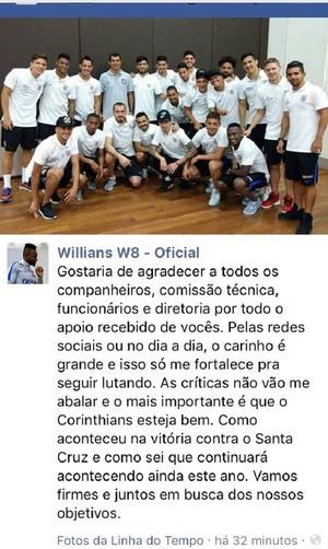 Willians agradece manifesto corinthians (Foto: Reprodução/Instagram)
