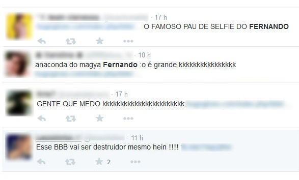 Comentários sobre o Fernando (Foto: Reprodução)