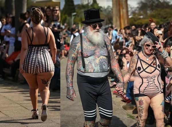 Os manequins diversos foram muito aplaudidos na passarela montada ao ar livre  (Foto: Ag News)