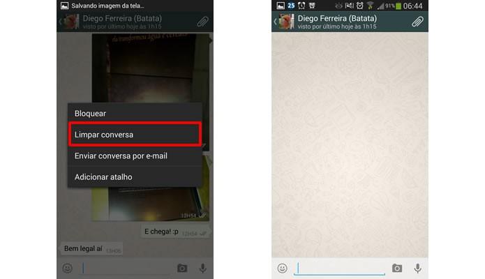 """Clique em """"Limpar conversa"""" e confirme sua opção para excluir todo o conteúdo da galeria de mídia e as mensagens de uma só vez (Foto: Reprodução/Daniel Ribeiro)"""