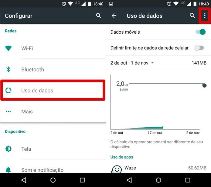 Acessando as configurações de uso de dados do celular (Foto: Reprodução/Felipe Alencar)