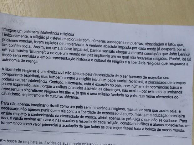 Candidato estava com texto sobre o tema da redação do Enem (Foto: Divulgação/Polícia Federal)