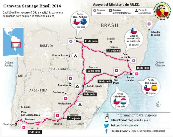 Rota da Caravana Santiago-Brasil 2014 (Foto: Divulgação/Caravana Santiago-Brasil)