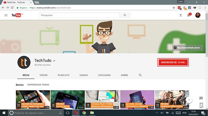 Acesse o canal do YouTube para qual você deseja receber notificações (Foto: Reprodução/Elson de Souza)