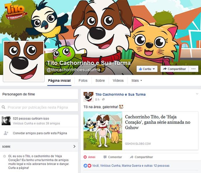 Página oficial do 'Tito Cachorrinho e Sua Turma' no Facebook (Foto: Reprodução)