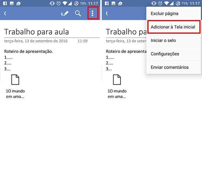 OneNote tem opção para criar atalho para notas mais usadas no Android (Foto: Reprodução/Elson de Souza)