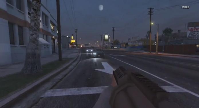GTA 5 modificado por jogador tem visual em primeira pessoa. (Foto: Reprodução/YouTube)