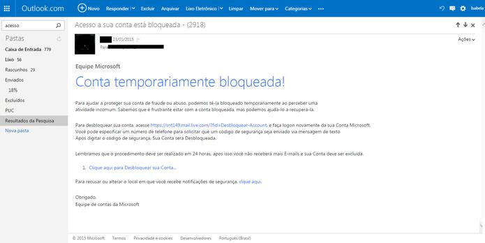 Usuários recebem e-mails com conteúdos maliciosos com diversos textos e avisos (Foto: Reprodução/Isabela Giantomaso)