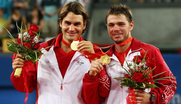 Roger Federer e Stan Wawrinka campeões olímpicos de 2008 (Foto: Getty Images)