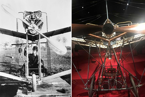 From left: Alberto Santos-Dumont aboard his aeroplane in 1907; another one of the Brazilian aviation pioneer's planes on display at the 'Cartier in Motion' exhibition (Foto: CARTIER ARCHIVES © CARTIER; @SUZYMENKESVOGUE)