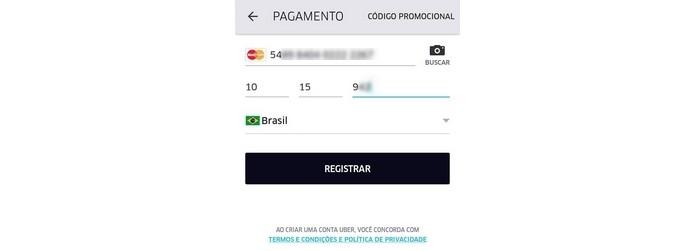 Inserção de dados do cartão de crédito no Uber (Foto: Reprodução/Raquel Freire)