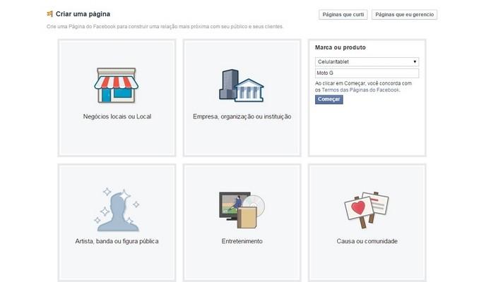 Preenchimento dos primeiros dados da página do Facebook (Foto: Reprodução/ Raquel Freire)