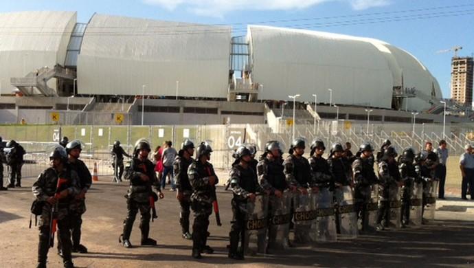 PM vai atuar com cerca de 350 policiais nas ruas durante o clássico entre ABC e América-RN neste sábado (Foto: Felipe Gibson/G1)