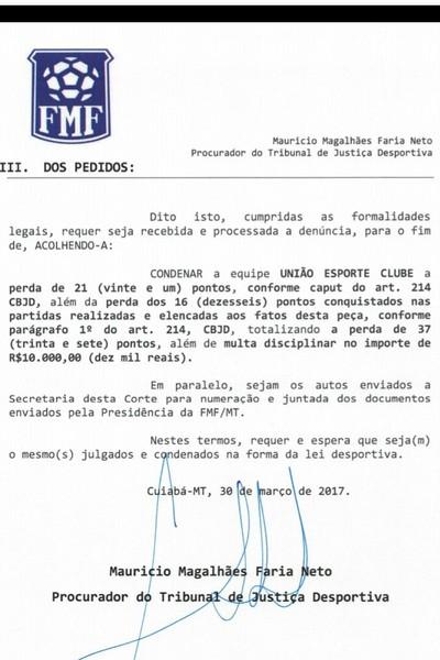 TJD-MT, denúncia União (Foto: Reprodução)