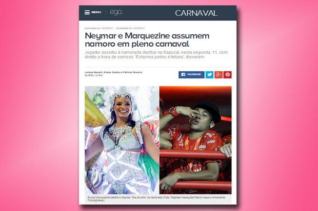 2013: Neymar assume namoro com Bruna Marquezine (Foto: Reprodução/Internet)