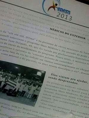 Imagem de texto sobre Mais Médicos que circula na web como sendo parte da prova do Enem aplicada neste sábado (26) (Foto: G1/reprodução)