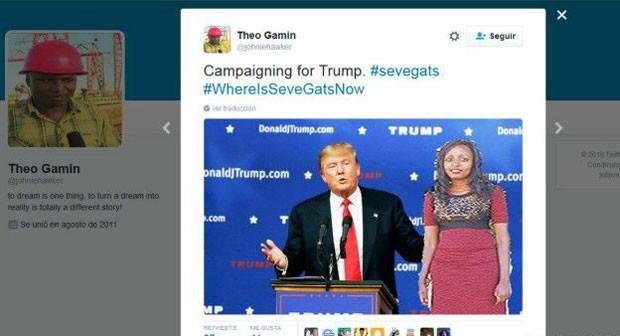 """A queniana """"fazendo campanha para Donald Trump"""" (Foto: Reprodução/Twitter/Theo Gamin)"""