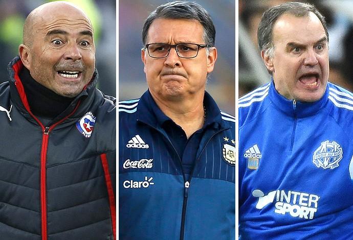 Montagem Sampaoli, Martino e Bielsa (Foto: Globoesporte.com)