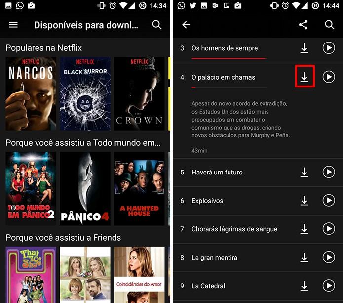 Toque no ícone de download para baixar filme ou série do Netflix (Foto: Reprodução/Elson de Souza)