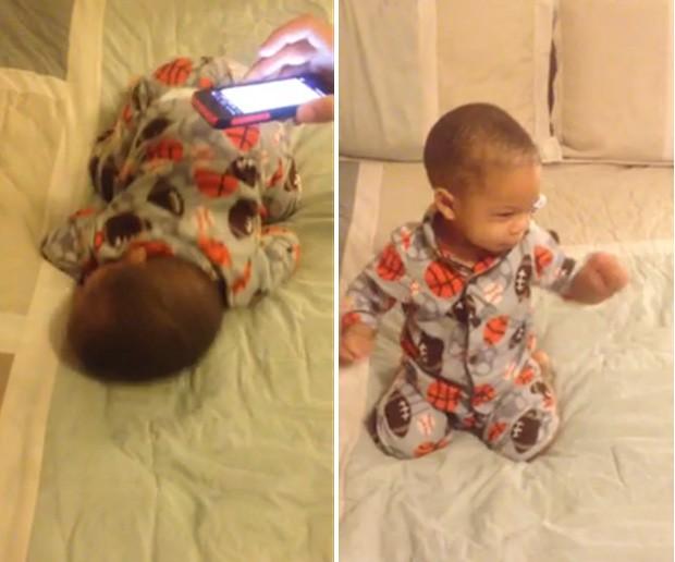Assim que despertar ao som de Bruno Mars, o pequeno Christian mostra 'gingado' ainda na cama (Foto: Reprodução/YouTube/Walter Piper)