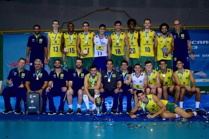 Seleção brasileira masculina campeã sul-americana sub-23 vôlei (Foto: Divulgação/CBV)