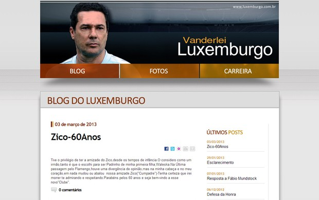 Reprodu&#231;&#227;o site vanderlei Luxemburgo (Foto: Reprodu&#231;&#227;o)