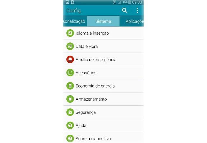 """Vá até a aba """"sistema"""" para atualizar o Note 4 para o Lollipop (Foto: Reprodução/Lucas Mendes)"""